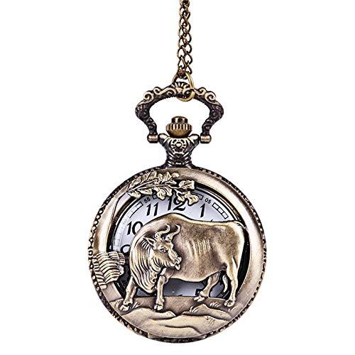 TOOGOO Reloj De Bolsillo Antiguo Hueco En Relieve Ganado Zodíaco Reloj De Bolsillo Clásico Ganado 12 Zodíaco Grande De Bronce