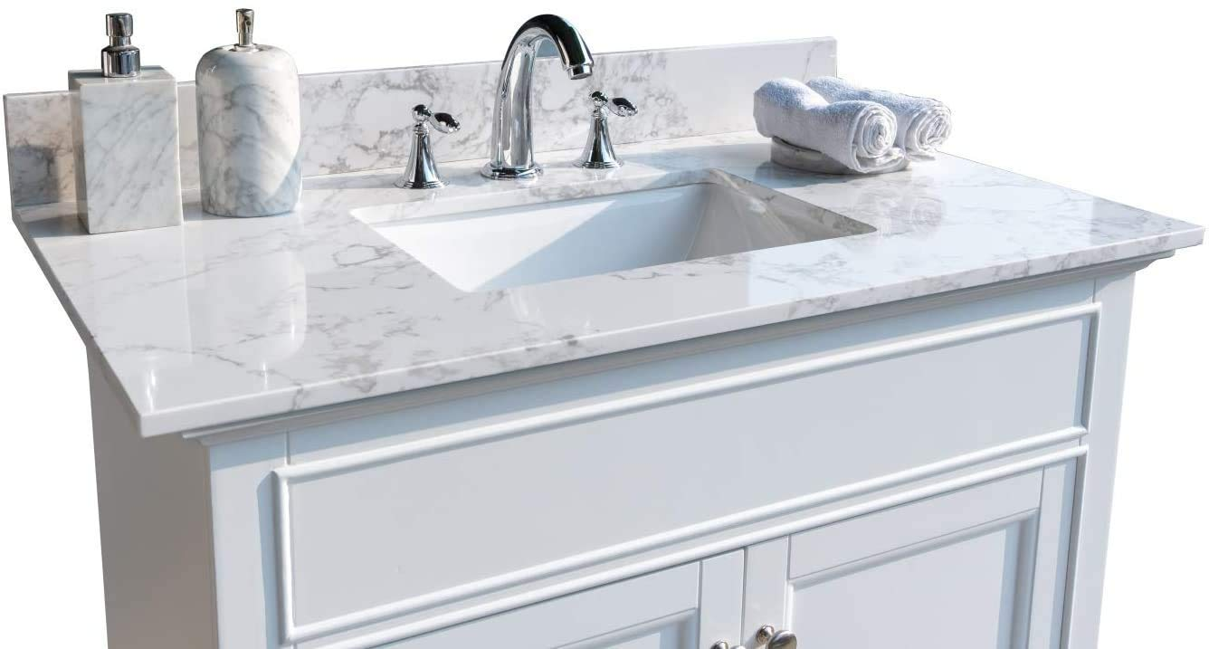 Unie 31x22 Inch Bathroom Vanity Single Sink White Carrara Marble Countertop With Faucet Hole Back Splash For Bathroom Not Include The Cabinet Amazon Com