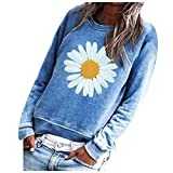 Dosoop Women Autumn Graphic Long Sleeve Tops Daisy Printing Pullover Sweatshirt Casual Crewneck Loose T Shirts Blouse