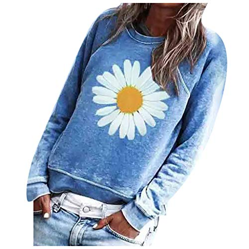 Women Casual Long Sleeve Tops Sunflower Printing O-Neck Pullover Sweatshirt Blouse E-Scenery Blue