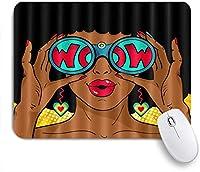 EILANNAマウスパッド 双眼鏡を持ってアメリカのアフロアフリカの黒人女性の女の子 ゲーミング オフィス最適 高級感 おしゃれ 防水 耐久性が良い 滑り止めゴム底 ゲーミングなど適用 用ノートブックコンピュータマウスマット