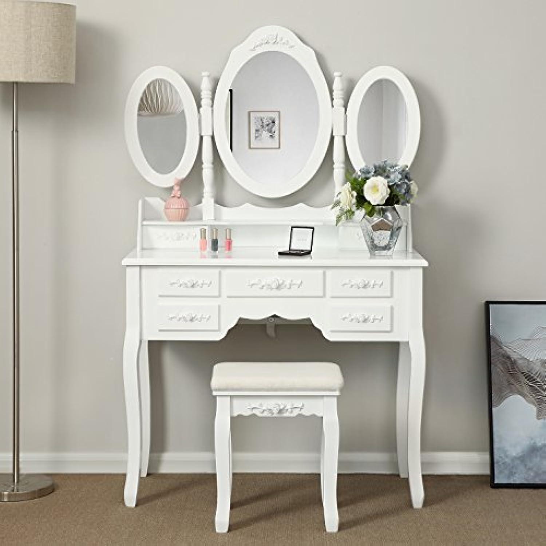 Songmics luxuris Kippsicherung Schminktisch mit 3 spiegel und hocker, Lederimitat, wei, 145 x 90 x 40 cm