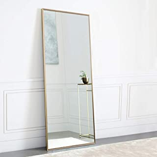 "NeuType آینه با طول کامل آویزان و یا در مقابل دیوار تکیه داده شده ، آینه های اتاق خواب بزرگ مستطیل بزرگ آینه طبقه کف آینه کاری دیوار آینه ، آلیاژ آلومینیوم باریک قاب ، 65 ""x22"""