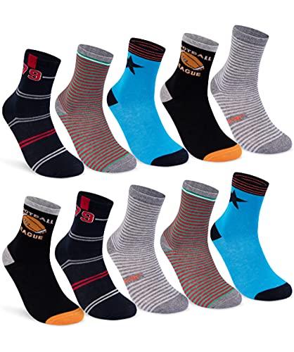 10 Paar Kinder Socken Jungen und Mädchen Baumwolle Kindersocken 54333 (27-30)