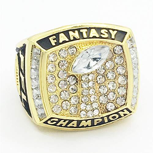 WANZIJING Fantasie Fußball Ring, 2017 Fantasy Football Champion Ringe Sports Fans Ring Collection for Boyfriend Geschenk Größe 8-14,Gold,9