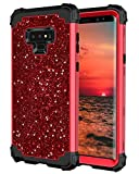 Hekodonk Compatible Galaxy Note 9 Case, Luxury Stars Sparkle Glitter Shiny Heavy Duty Shockproof Full-Body Protective High Impact Hybrid Cover for Samsung Galaxy Note 9(Bling Red)