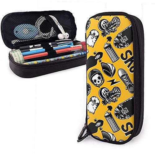 Patinetas Funda de lápiz de cuero de skate, bolsa de bolsa de lápices Estuche estacionario