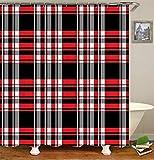 SLN Schwarz-Weiß-Rote Quadrate. Duschvorhang. 180 X 180 cm. 12 C-Förmige Haken. Einfach Zu Säubern. Wasserdicht. Nicht Verblassen. Haus Dekoration.