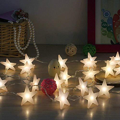 CFLFDC Lichtketting, ster, LED, vijf sterren, klein, gekleurd licht, zaklamp, lampenketting met ster, 6 m, 40 licht, afstandsbediening met USB-armband, wit positief
