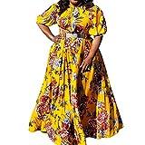 VERWIN Plus Size Floor-Length Print Half Lantern Sleeve Floral Women's Maxi Dress Expansion Dress XXXL Yellow