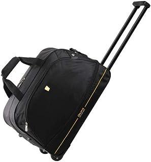 Luggage, Nylon Unisex Trolley Case, Expandable, Orange, 18 inches Travel Equipment (Color : Black)