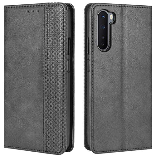 HualuBro OnePlus Nord Case, Retro PU Leather Full Body Shockproof Wallet Flip Case Cover with Card Slot Holder and Magnetic Closure for OnePlus Nord 5G Phone Case (Black)