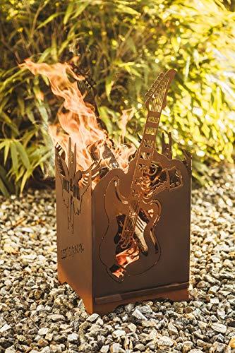 Vuurton, vuurkorf, vuurschaal, haard van metaal, patina, rock, muziek, gitaar, rock roll, afmetingen 66 cm x 30 cm x 30 cm