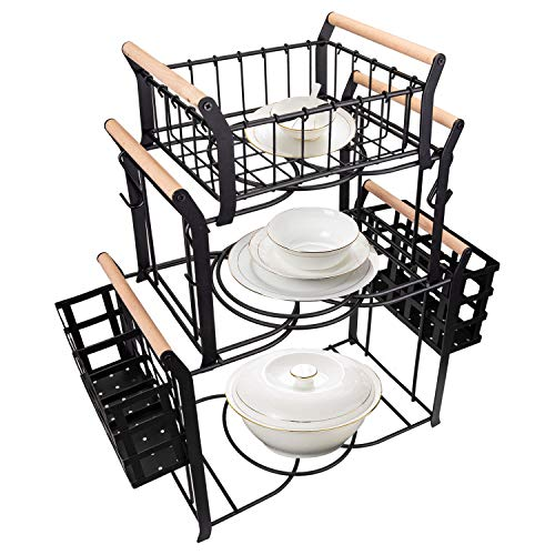Suwimut 3 Tier Buffet Caddy, 10 Pieces Stackable Plate Napkin Silverware Holder Utensils Organizer with 5 Mugs Hooks for Kitchen, Dining Table, Entertaining, Party, Picnic, Black