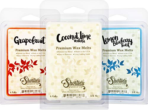Fruit & Berry Wax Melts Variety Pack - New Wax Blend - Coconut Lime Verbena, Grapefruit, Lemon Blueberry - 3 Highly Scented 3 Oz. Bars - Made With Natural Oils - Fruit & Berry Warmer Wax Cubes