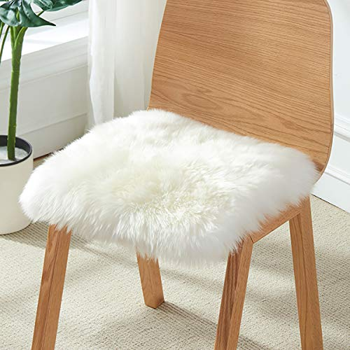YOH Square Faux Fur Sheepskin Rugs Ultra Soft White Fluffy Chair Cover Seat Cushion Pad Area Rugs Shaggy Wool Carpet for Living Room Bedroom Sofa Home Decor, 1.6 x 1.6 Feet