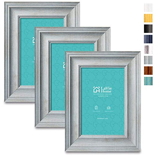 LaVie Home 4x6 Picture Frames (3 Pack, Light Gray Wood Grain) Rustic Photo Frame Set with High Definition Glass for Wall Mount & Table Top Display