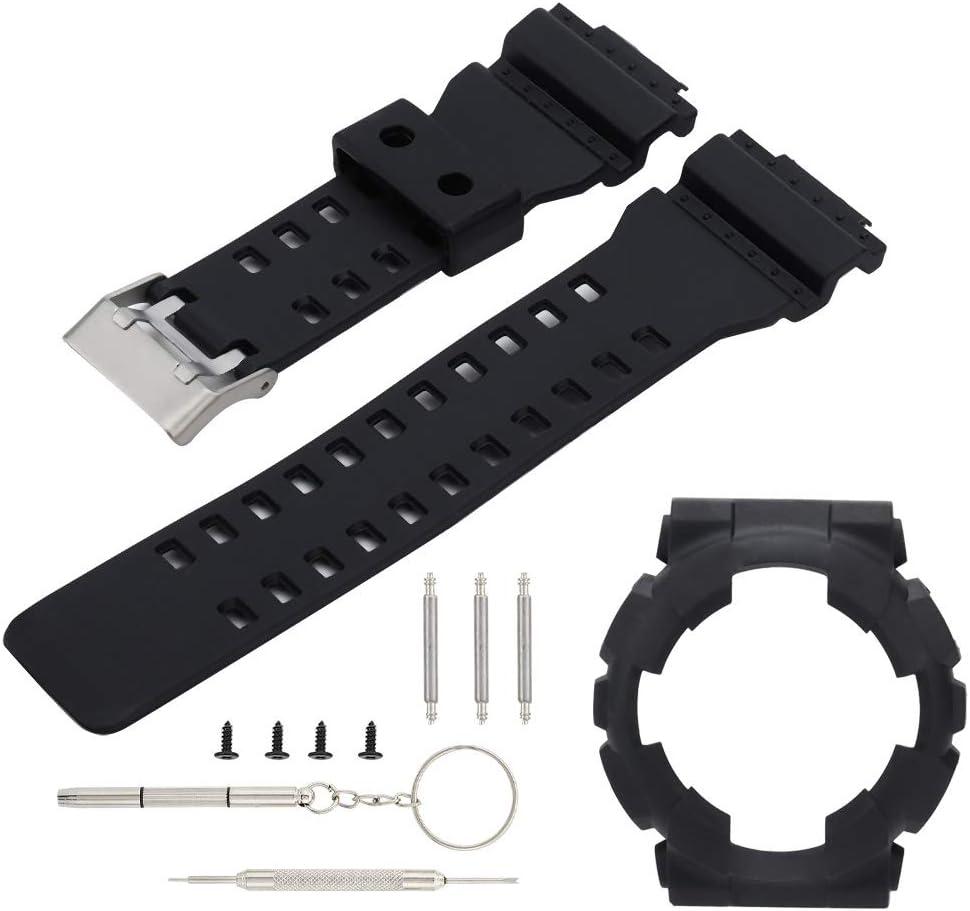Wacent Pulsera de Silicona de Repuesto para Correa de Reloj con Estuche para Reloj, Accesorios y Ropa de Belleza Elegantes compatibles con Casio G Shock GA110/100