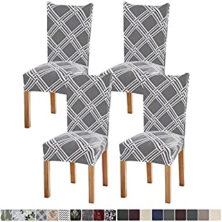 Fuloon 4 Pack Super Fit Stretch Removable Washable Short Dining Chair Protector Cover Seat Slipcover for Hotel,Dining Room,Ceremony,Banquet Wedding Party (Gray Stripe)