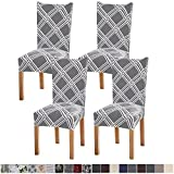 Fuloon 4 Pack Super Fit Stretch Removable Washable Short Dining Chair Protector...