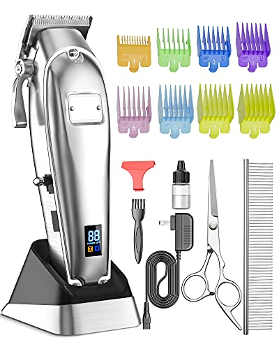 oneisall Dog Grooming Clippers,2 Speed Professional Cordless Hair Shears Trimmers for Thick Heavy Coats,with Metal Blade for Dogs Cats Animals