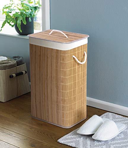 Country Club Bambus naturalny ekologiczny kosz na pranie z pokrywką, 40 cm x 30 cm x 60 cm