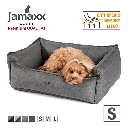 JAMAXX Premium Hundebett - Orthopädisch Memory Visco Füllung, Extra-Hohe Ränder, Waschbar, Hochwertiger Stoff mit viel Eleganz, Hundesofa PDB2018 (S) 70x50 grau
