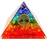 7 Chakra Crystal Tree of Life Orgone Pyramid Kit/Includes 4 Crystal Quartz Energy Points/EMF Protection Meditation Yoga Energy Generator …