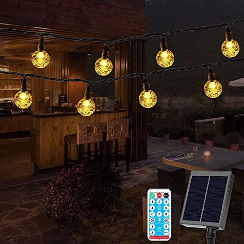 Solar Lichterkette Aussen, 20M 100LED Lichterkette Solar mit Fernbedienung, 8 Modi/Timing-Funktion/IP44 Wasserdicht, Lichterkette Außen Solar für Garten, Bäume,Hochzeiten, Partys(Kristall Kugeln)