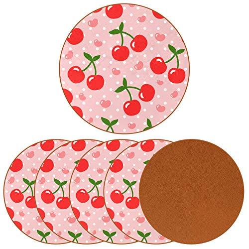Paquete de 6 posavasos para bebidas, diseño de cereza, diseño de corazón, fruta, dibujos animados, para decoración de bar de inauguración de la casa