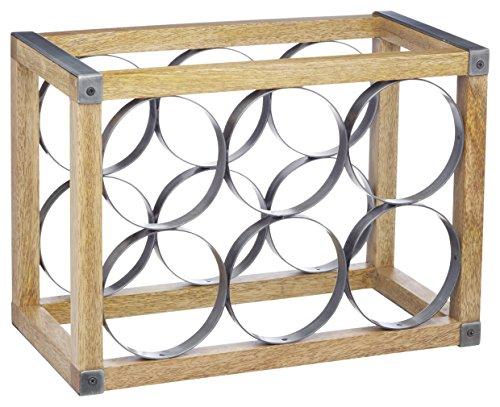 Kitchencraft Industrial cocina Vintage 6botellas) estante de vino de madera/de metal, 24,5x 17,5x 34cm (9.5