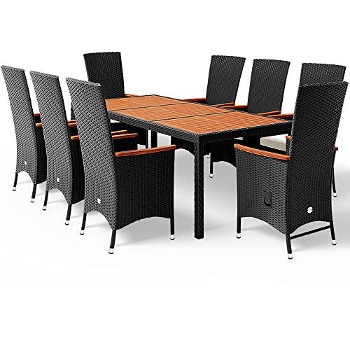 Deuba Poly Rattan Sitzgruppe 8 Stühle Rückenlehne Verstellbar 7cm Auflagen Gartentisch 190x90 cm Akazie Holz Gartenmöbel