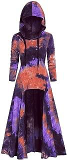 Eaktool Womens Fashion Hooded Plus Size Vintage Cloak Coat High Low Sweater Long Sleeve Tops Dress Outcoat(Purple,Small)
