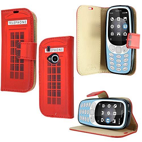 Étui portefeuille en cuir pour Nokia 3310 (2G) 2017 - Qualité supérieure - Magnétique - Avec support de visualisation - Impression cabine téléphonique