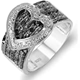 Dazzlingrock Collection 0.33 Carat (ctw) Sterling Silver Buckle Heart Ladies Round Black and White Diamond Cocktail Right Hand Ring 1/3 CT, Size 7