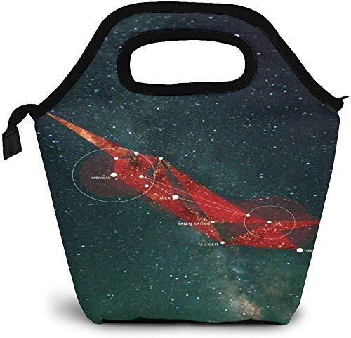 Astronomische Kunst Cetus Constellation Map Isolierte Lunch-Tasche Benutzerdefinierte Bento-Box Picknick-Kühler Tragbare Handtasche Lunch-Einkaufstasche für Frauen Mädchen Männer Jungen