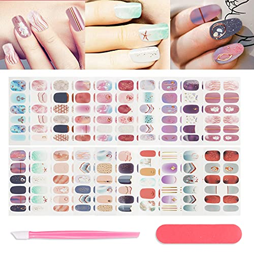 20 Sheets Cute Nail Strips Multiple Color Starfish Pattern Nail Stickers Self-Adhesive Fake Nails Art Decal Design Nail Polish Wraps Manicure Set with Nail File Pusher for Women Girls