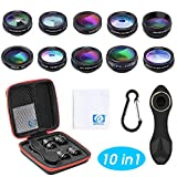 Orlegol Objectif Smartphone, 10 en 1 Téléphone Caméra Lentille Kit, 198° Fisheye, 0.63X Objectif Grand Angle, Macro, Kaléidoscope, Flux, Star, CPL, Telephoto Filtre, pour iPhone Samsung Huawei Android