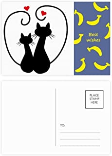 Cat Lovers Sihouette Animal Valentine Banana Postcard Set Thanks Card Mailing Side 20pcs