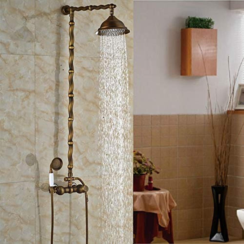 Antike 8 Messing Regen Duschkopf Badewanne Dusche Wasserhahn Komplettset Einhebel Messing Ventil Mischbatterien mit Handbrause