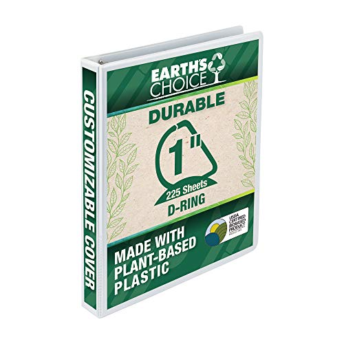 Samsill Earth's Choice Biobased 3 Ring View Binder, 1 Inch D-Ring,Up to 25% Plant Based Plastic, USDA Certified Biobased, Eco-Friendly, Customizable Cover, White