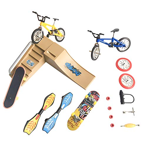 Fingertoys Skate Park Kit, Mini Finger Skateboard Finger Bicycle Swing Boards and Multiple Scenes Ramp Set with 9 Pcs Replaceable Accessories Gifts Party Favors for Kids Children