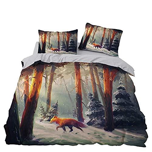 LWtiao-x Ropa de cama con estampado de animales en 3D, diseño de zorro, microfibra, funda de edredón y funda de almohada de 80 x 80 cm, ropa de cama para niños y niñas (A7,155 x 220 cm + 80 x 80 cm)