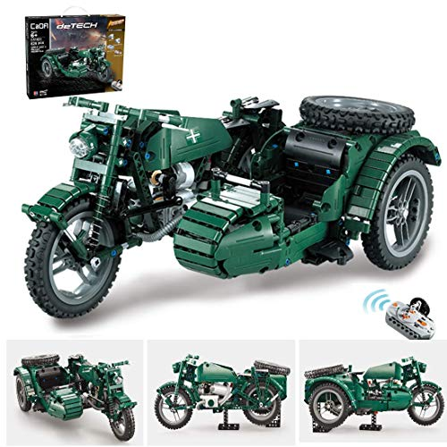 CYGG Bloques de construcción de Motos Technic, 629 PCS 2.4G RC Motocicleta Militar WW2 con Control Remoto y Motores, Kits de construcción compatibles con la técnica Lego