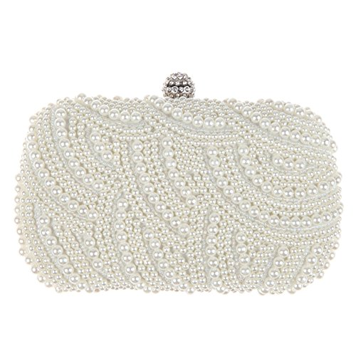 Abendtasche / Clutch / Portmonee für Damen, luxuriös, elegant, Satin, weiße Perlen / Strass, Hartschale, ideal für Hochzeitsfeier