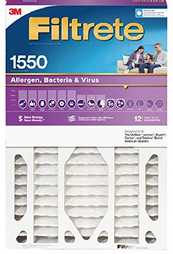 Filtrete MPR 1550 NDP03-5IN-2 DP 20x25x5 AC Furnace Air Filter, Healthy Living Ultra Allergen Deep Pleat, 1-Pack