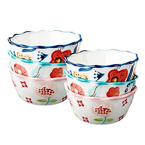 AWYGHJ Keramikschüsseln, 6, 5-Unzen-Ramekins zum Backen, Crème Brulee-Gerichte, Vanillepudding-Becher, Keramikbacken, Souff-Teller, Backofen Safe, Multi Color