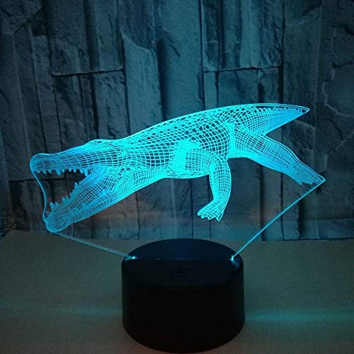 WSJTT Crocodile LED Colorful Gradient 3D Stereo Table Lamp Touch Remote Control USB Night Light Desk Bedside Creative Decoration Gift Ornaments