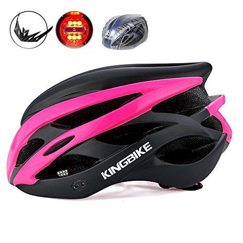 KINGBIKE Casco de Ciclismo Bicicleta Carretera de Ruta MTB para Adulto Hombre Mujer Con Luz Trasera de Seguridad LED / con Protección Contra la Lluvia Cubierta / con Visera de Sol Extraíble / Ligera / Cómoda / 54-60CM (negro con rosa roja)