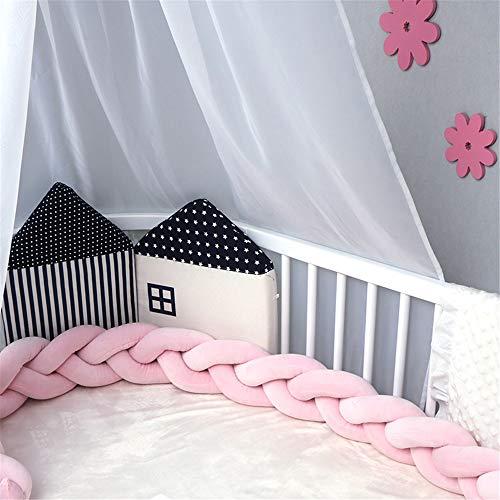 NIUXUAN gevlochten wiegbumpers, pluche parel katoenen babybedbumpers, kinderkamer wieg Decor kussen kussen voor pasgeboren baby kinderen, junior handgemaakte bed slaapbumper (78,7 inch / 2 m, roze)